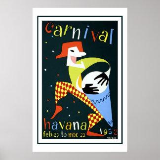 Poster Carnaval dans le voyage vintage de La Havane