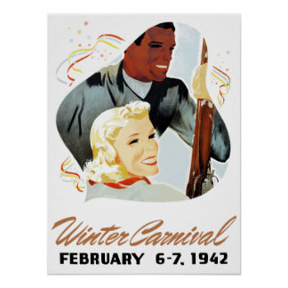 Poster Carnaval vintage d'hiver