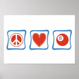 Poster Carrés de billards d'amour de paix