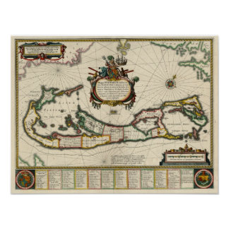 Poster Carte 1630 des Bermudes