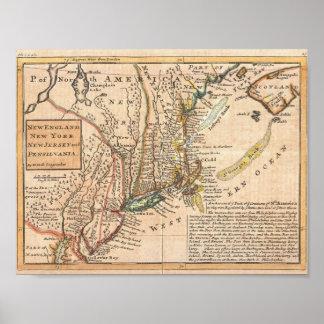 Poster Carte 1729 de poule New York, vieille, vintage,