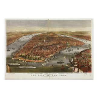 Poster Carte 1870 panoramique de vue d'oeil d'oiseaux de