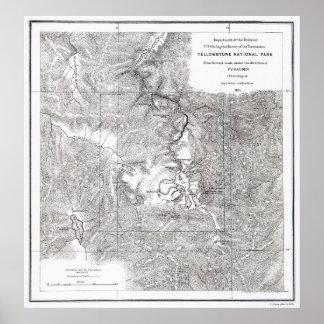 Poster Carte 1871 de parc national de Yellowstone