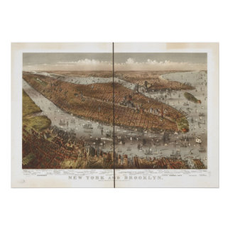 Poster Carte 1875 panoramique de vue d'oeil d'oiseaux de