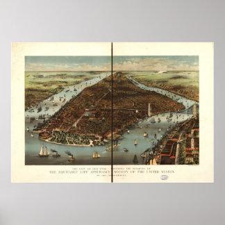 Poster Carte 1883 panoramique de vue d'oeil d'oiseaux de