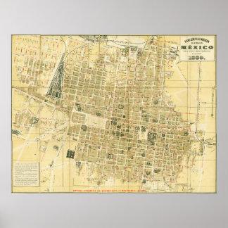 Poster Carte 1889 de Mexico
