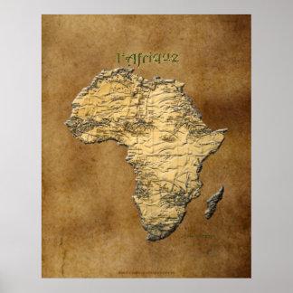 Poster carte 3D de l'AFRIQUE sur l'affiche d'art de