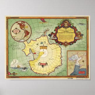 Poster Carte antarctique d'expédition