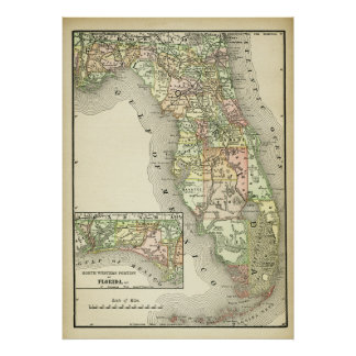 Poster Carte antique de la Floride, carte piquée de cru