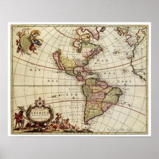 Poster Carte antique des Amériques par Johannes De Ram