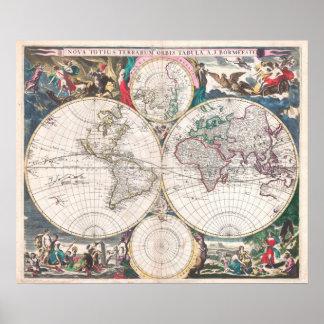 Poster Carte antique du monde de Double-Hémisphère