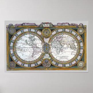 Poster Carte antique du monde par Claude Auguste Berey,