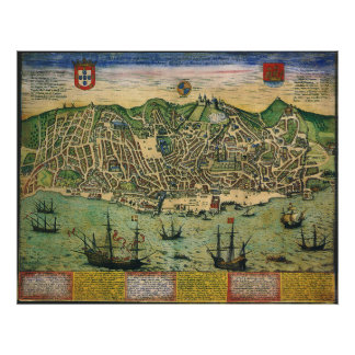 Poster Carte antique, plan de ville de Lisbonne,