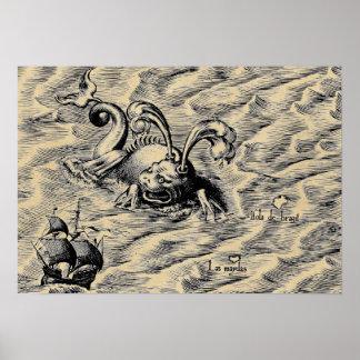 Poster Carte arctique du monde de sépia de monstre de mer