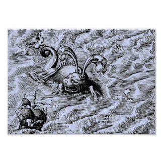 Poster Carte bleue arctique du monde de monstre de mer et