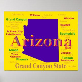 Poster Carte colorée de l'Arizona, état de canyon grand