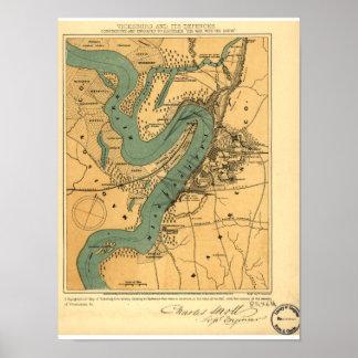 Poster Carte de guerre civile de Vicksburg et de ses