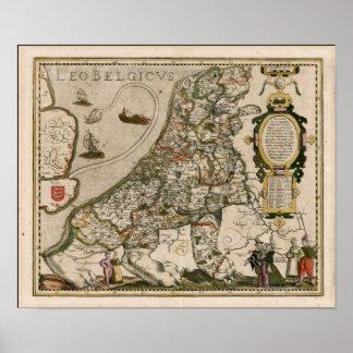 Poster Carte de la Hollande 1617 - Lion Belgicus