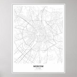 Poster Carte de minimaliste de Moscou, Russie