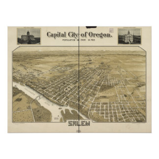 Poster Carte de Salem, Oiseau-Oeil View, 1905