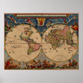 Poster Carte de Vieux Monde vintage de couleurs vibrantes