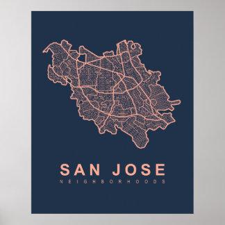 Poster Carte de voisinages de San Jose