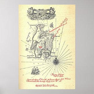 Poster Carte d'île du trésor de Robert Louis Stevenson