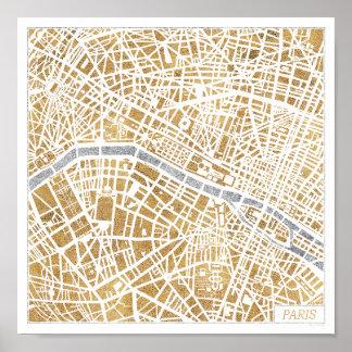 Poster Carte dorée de ville de Paris