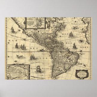 Poster carte du 17ème siècle des Amériques