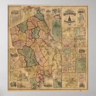 Poster Carte du comté de Plymouth le Massachusetts (1857)