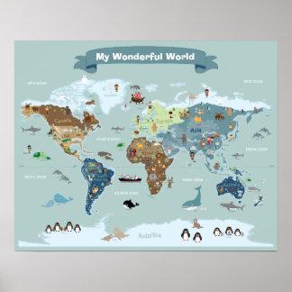 Poster Carte du monde d'enfants avec des images et des