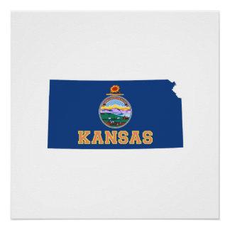 Poster Carte et drapeau d'état du Kansas