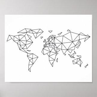 Poster Carte géométrique du monde