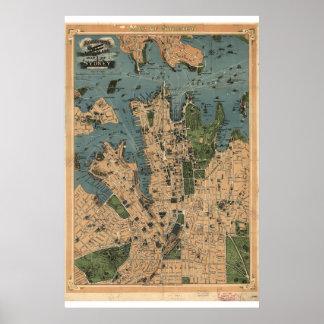 Poster Carte historique de Sydney Australie 1922