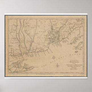Poster Carte historique d'Île de Rhode 1780