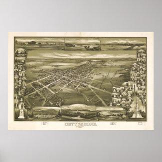 Poster Carte imagée vintage de la PA de Gettysburg (1888)