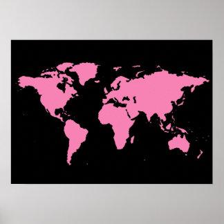 Poster carte noire et rose du monde pour des femmes