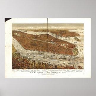 Poster Carte panoramique d'oeil d'oiseaux de New York