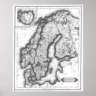Poster Carte vintage de la Norvège et de la Suède (1831)