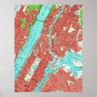 Poster Carte vintage de Manhattan de la ville haute et de