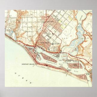 Poster Carte vintage de plage la Californie (1951) de