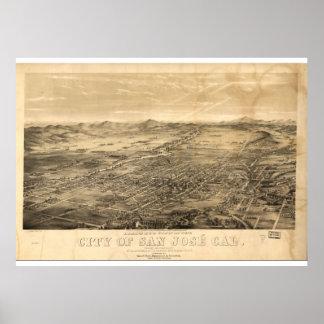 Poster Carte vintage de San Jose, 1869