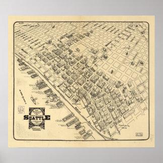 Poster Carte vintage de Seattle du centre, 1903
