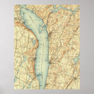 Poster Carte vintage de Tarrytown NY et du fleuve Hudson