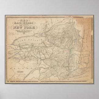 Poster Carte vintage des chemins de fer de New York
