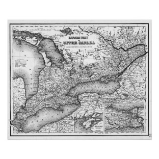 Poster Carte vintage d'Ontario (1857) BW