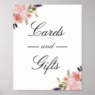 Poster Cartes roses et cadeaux de pivoines épousant