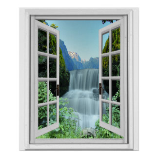 Poster Cascade Trompe - l ' fenêtre de faux d'effet