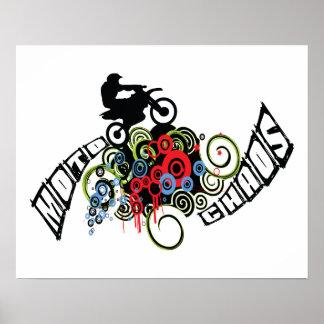Poster Cavalier de vélo de saleté de chaos de Moto