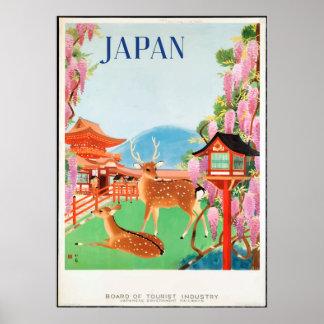 Poster Cerfs communs vintages des années 1930 et affiche